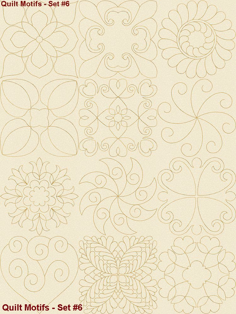Continuous line quilting motifs machine embroidery designs
